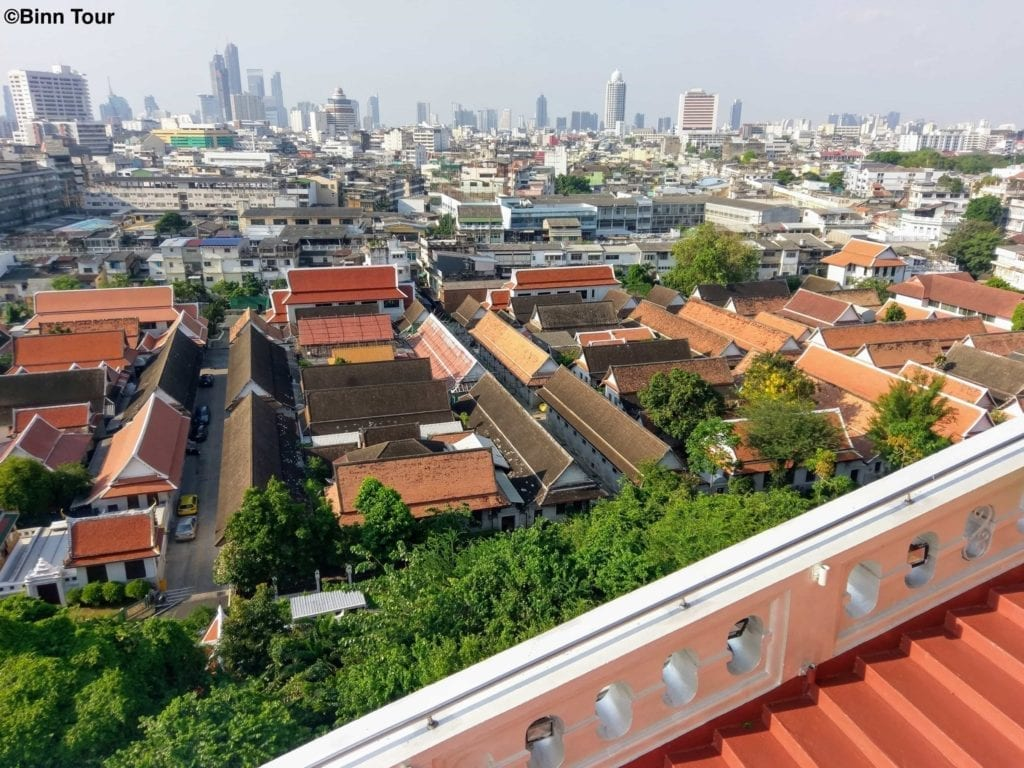 panoramic city view of Bangkok from the Golden Mount Temple
