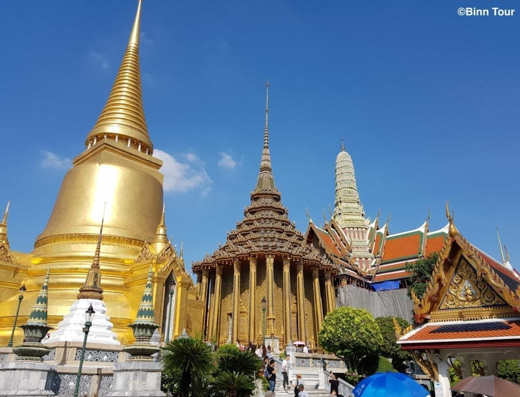 Drei wichtige Gebäude im Tempel des Smaragd-Buddha (Wat Phra Kaeo)