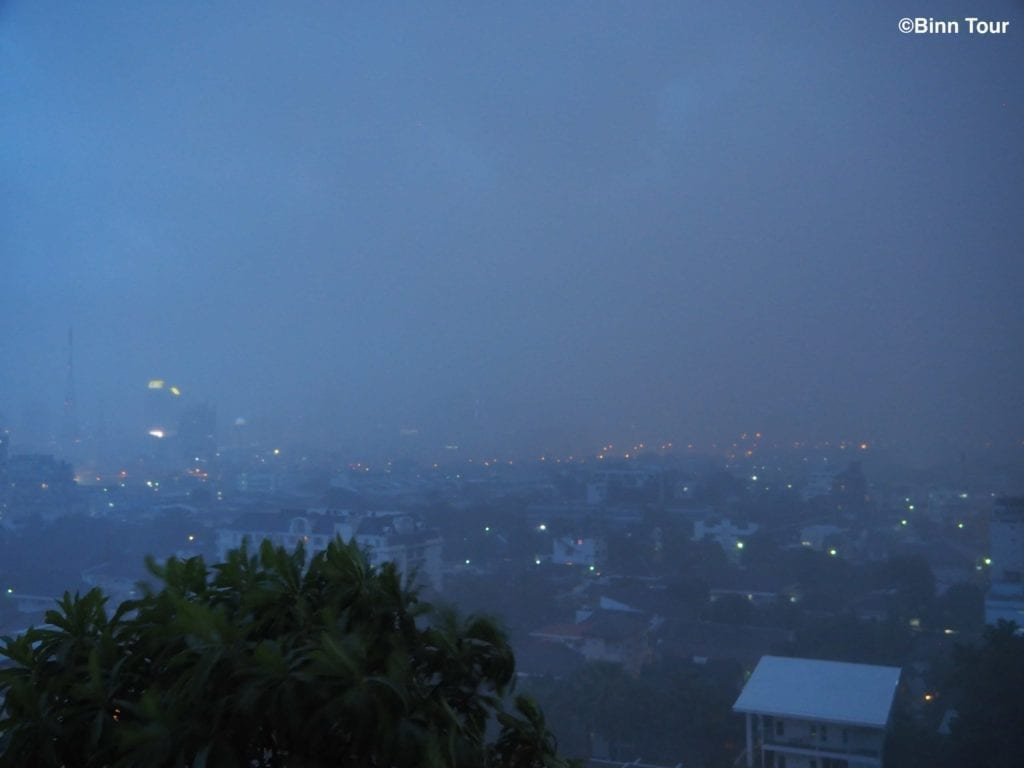 view of rainy weather in Bangkok during the wet season