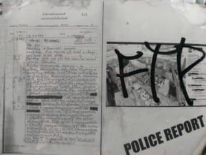 Report of criminal lawsuit against trespassers at the Sathorn Unique Tower