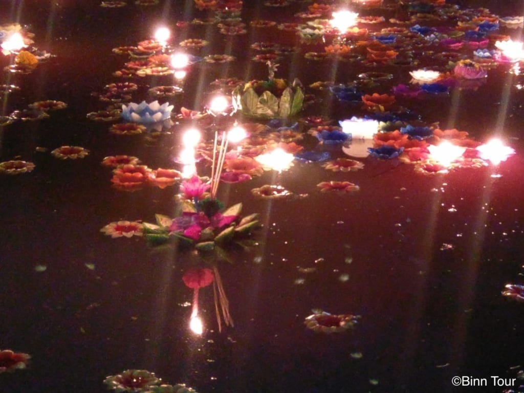 Krathongs floating on water during the Loy Krathong festival