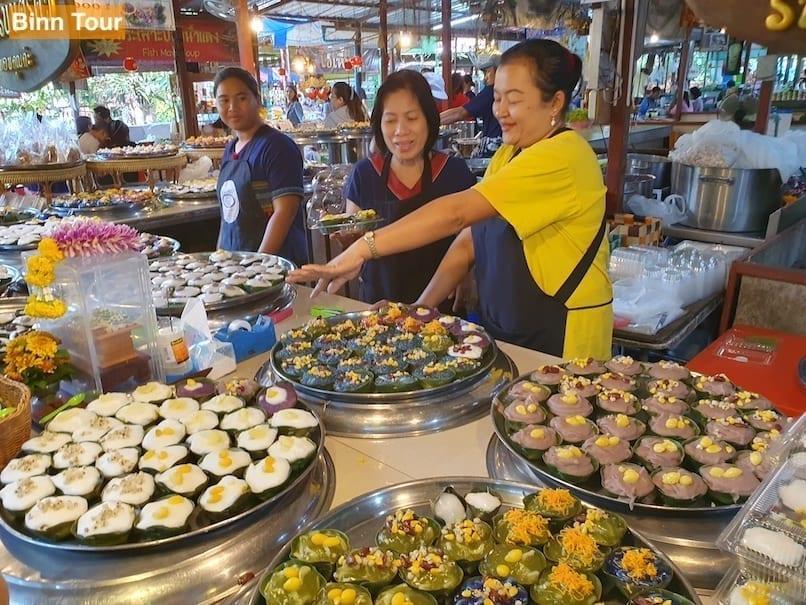 Great diversity of food at Bang Kachao's floating market