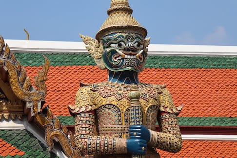Giant demon guardian protecting the Emerald Buddha Temple