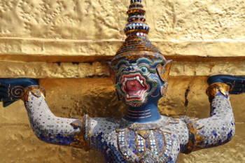 Monkey figure inside of the Emerald Buddha Temple