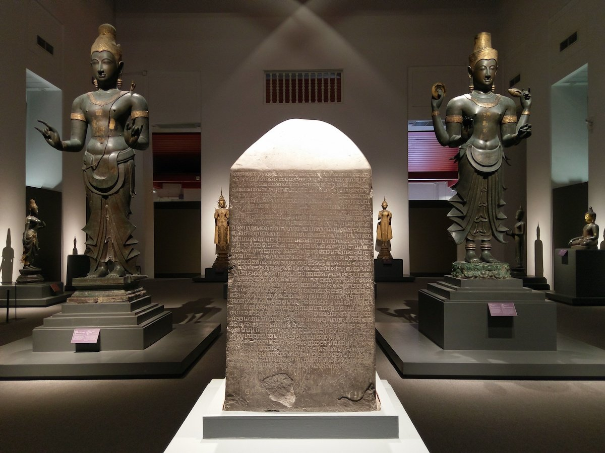 The Ramkhamhaeng inscription stone inside of the Bangkok National Museum